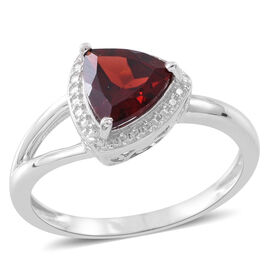 Mozambique Garnet (Trl) Solitaire Ring in Rhodium Plated Sterling Silver 2.000 Ct.