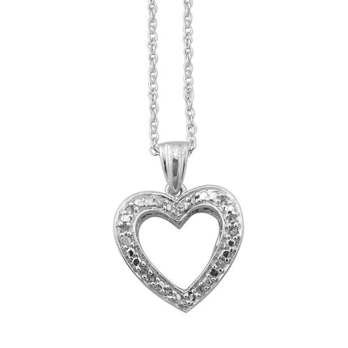 Butterfly Heart Mega Deal Diamond Platinum Overlay Sterling Silver Pendant With Chain  0.050  Ct.
