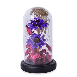 Purple Gerbera Daisy Flowers and Fallen Petals Preserved in Glass Dome with LED Lights (Size 20X10 Cm)