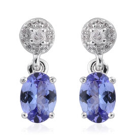 9K White Gold 1.60 Carat AA Tanzanite with Diamond Earrings (with Push Back)