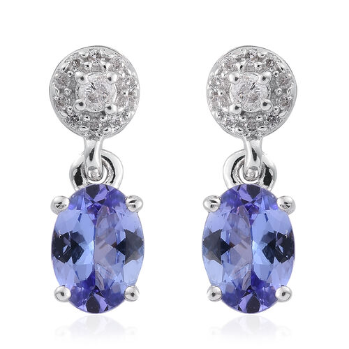 9K White Gold AA Tanzanite (Ovl), Diamond Earrings (with Push Back) 1.600 Ct.