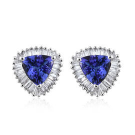 RHAPSODY 950 Platinum AAAA Tanzanite (Trl), Diamond (VS/E-F) Stud Earrings (with Screw Back) 1.500 Ct.
