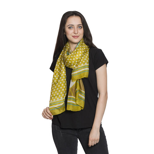 100% Mulberry Silk Olive Green and White Colour Polka Dots Hand Screen Printed Scarf (Size 180X100 Cm)