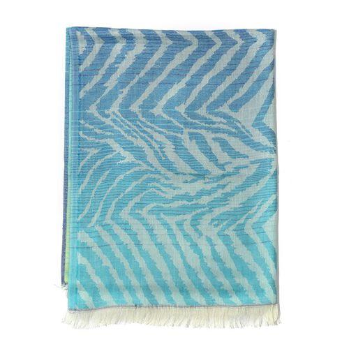 Modal and Cotton Blue, Green and Multi Colour Zebra Print Shawl (Size 190x75 Cm)