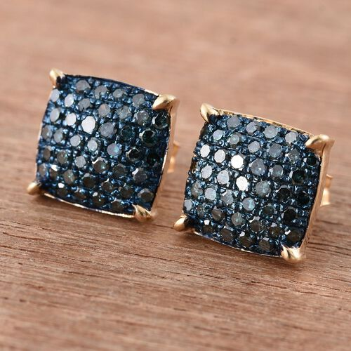 Blue Diamond (Rnd) Stud Earrings (with Push Back) in 14K Gold Overlay Sterling Silver 0.750 Ct.