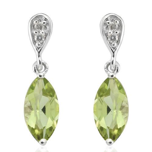 9K White Gold AA Hebei Peridot (Mrq), Diamond Earrings (with Push Back) 1.650 Ct.