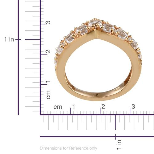 Simulated White Sapphire (Rnd) V Shape Ring in 14K Gold Overlay Sterling Silver
