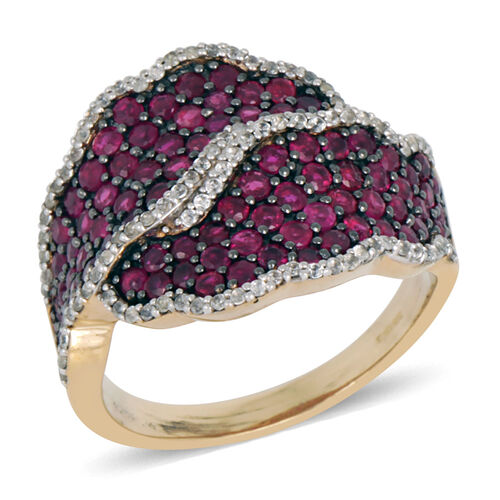 Burmese Ruby (Rnd), Natural Cambodian White Zircon Ring in Sterling Silver 4.250 Ct.