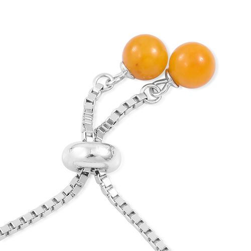 Yellow Jade Ball Beads Bolo Bracelet (Size 6.5 to 7.5) in Rhodium Plated Sterling Silver 16.980 Ct.