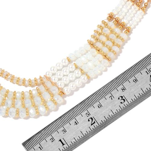 Simulated Pearl and White Colour Seed Beads Necklace (Size 23 with Extender) in Yellow Gold Tone