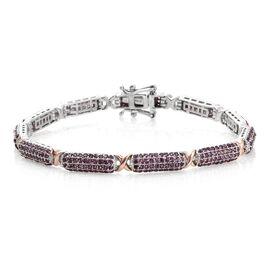 Designer Inspired -Rhodolite Garnet (Rnd) Bracelet (Size 8) in Platinum and Rose Gold Overlay Sterling Silver 6.000 Ct. Silver wt 15.95 Gms. Number of Gemstone 424