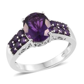 Lusaka Amethyst (Ovl 2.75 Ct) Ring in Platinum Overlay Sterling Silver 3.500 Ct.