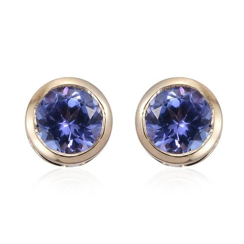 9K Y Gold Tanzanite (Rnd) Stud Earrings (with Push Back) 1.000 Ct.