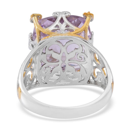 Designer Inspired-Checkerboard Cut Rose De France Amethyst (Cush), Burmese Ruby Ring in Rhodium Plated and Yellow Gold Overlay Sterling Silver 12.500 Ct.
