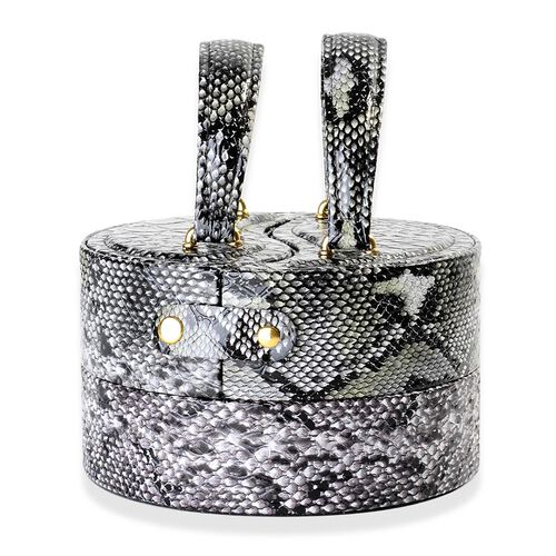 Round Shape Snakeskin Pattern Black Colour 3 Layer Jewellery Box (Height 8.5 Cm, Diameter 15 Cm)