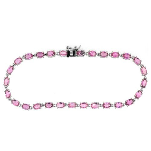 AA Pink Sapphire (Ovl) Bracelet in Rhodium Plated Sterling Silver (Size 7) 6.500 Ct.