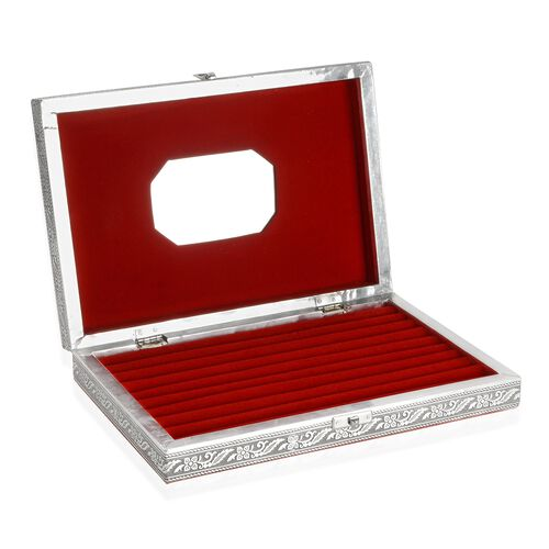 Handcrafted Tiger Embossed 80 Slots Ring Box with Red Velvet and Mirror Inside (Size 28X20X5 Cm)