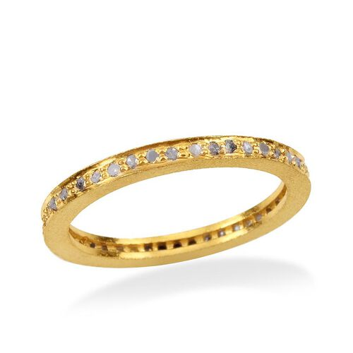 Diamond (Rnd) Full Eternity Band Ring in Yellow Gold Overlay Sterling Silver 0.500 Ct.