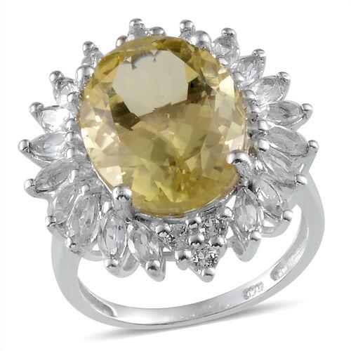 Brazilian Green Gold Quartz (Ovl 8.00 Ct), White Topaz Ring in Platinum Overlay Sterling Silver 10.000 Ct.