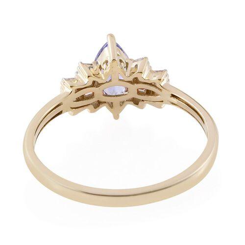 9K Y Gold Tanzanite (Mrq 0.82 Ct), Diamond (I4/H) Ring 1.000 Ct.