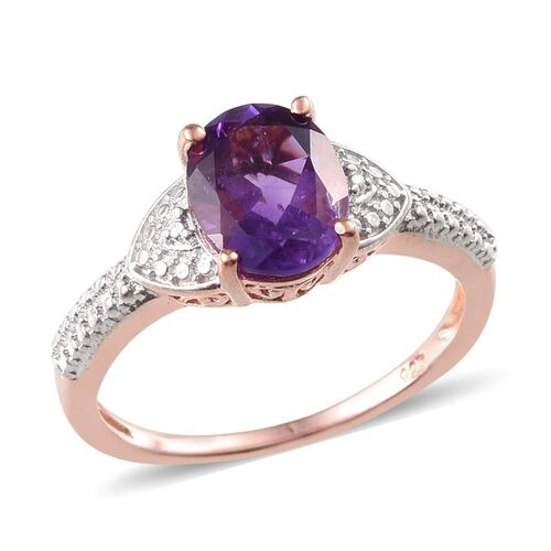Amethyst (Ovl) Solitaire Ring in Rose Gold Overlay Sterling Silver 2.250 Ct.