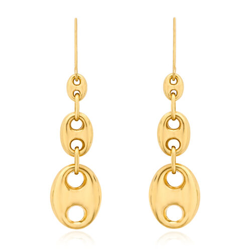 Italian 9K Y Gold Hook Earrings, Gold Weight 3.44 Gram