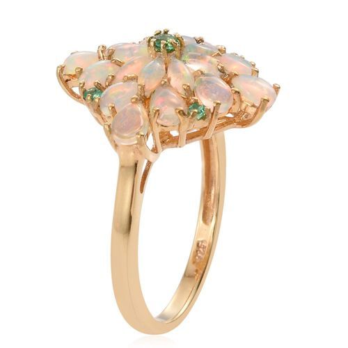 Ethiopian Welo Opal (Pear), Kagem Zambian Emerald Floral Ring in 14K Gold Overlay Sterling Silver 2.290 Ct.