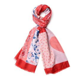 Red, White, Blue and Multi Colour Butterfly, Heart and Flower Pattern Scarf (Size 190x90 Cm)