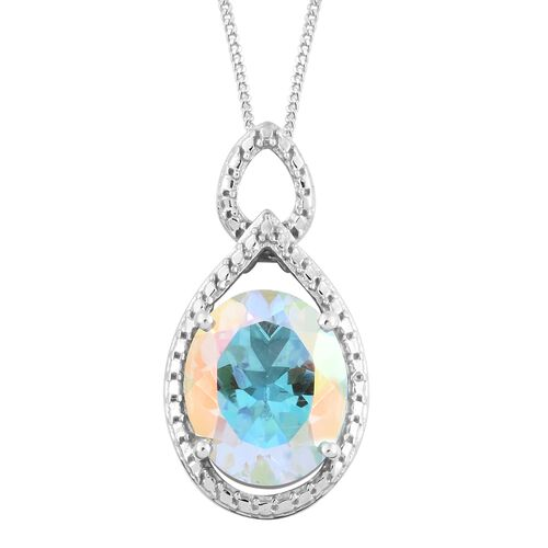 Mercury Mystic Topaz (Ovl) Solitaire Pendant with Chain in Platinum Overlay Sterling Silver 4.250 Ct.
