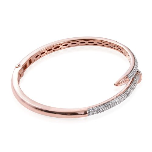J Francis - Rose Gold Overlay Sterling Silver (Rnd) Nail Bangle (Size 7.5) Made with SWAROVSKI ZIRCONIA Number of Swarovski 253 PCS. Silver wt. 18.49 Gms. (Equivalent Ct. wt 2.024)