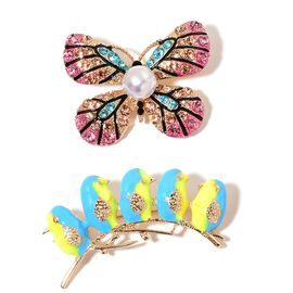 Set of 2 - Simulated Pearl and Multi Colour Austrian Crystal Butterfly and Blue and Yellow Colour Enameled Birds on Branch Brooch or Pendant in ION Plated Yellow Stainess Steel