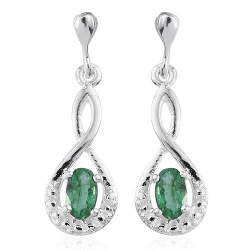 Kagem Zambian Emerald (Ovl) Earrings (with Push Back) in Sterling Silver 0.500 Ct.
