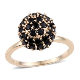 9K Yellow Gold 2.75 Carat Boi Ploi Black Spinel Ball Ring