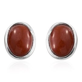 Red Jade (Ovl) Stud Earrings (with Push Back) in Sterling Silver 3.500 Ct.
