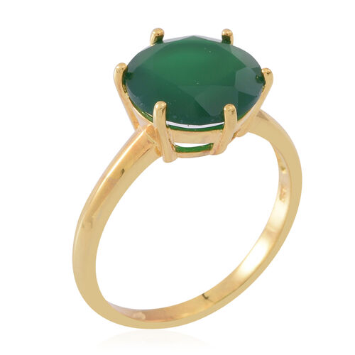 Verde Onyx (Rnd) Solitaire Ring in Yellow Gold Overlay Sterling Silver 5.000 Ct.