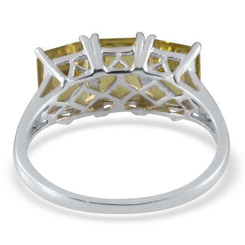 Brazilian Green Gold Quartz (Oct) Trilogy Ring in Platinum Overlay Sterling Silver 4.500 Ct.