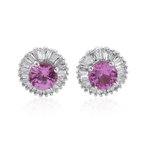 Signature Collection- RHAPSODY 950 Platinum 1.25 Carat AAAA Pink Sapphire Halo Stud Earrings With Diamond VS E-F