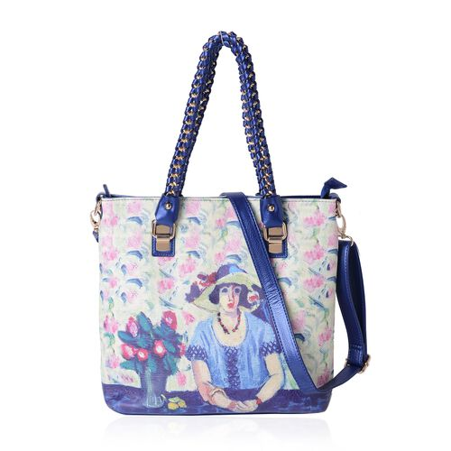 Milano Collection Floral Lady Water Resistant City Tote Handbag (Size 31x31x9 Cm)
