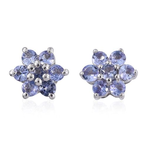 Tanzanite (Rnd) Floral Stud Earrings (with Push Back) in Platinum Overlay Sterling Silver 1.050 Ct.