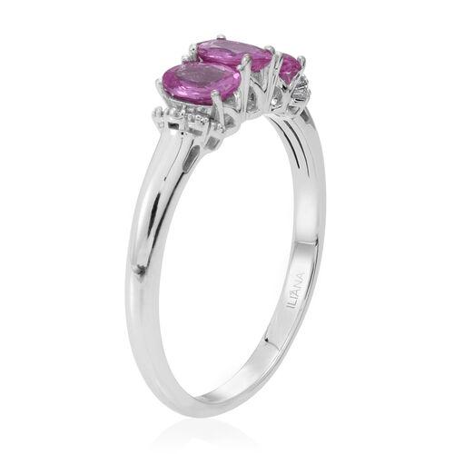 ILIANA 18K W Gold Pink Sapphire (Ovl), Diamond Ring 1.900 Ct.