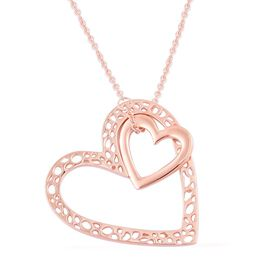 RACHEL GALLEY Rose Gold Overlay Sterling Silver Heart Pendant With Chain (Size 30), Silver wt. 14.69 Gms.