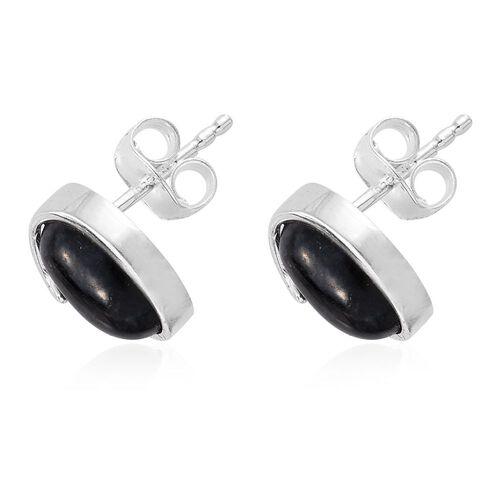 Black Jade (Ovl) Stud Earrings (with Push Back) in Sterling Silver 3.500 Ct.