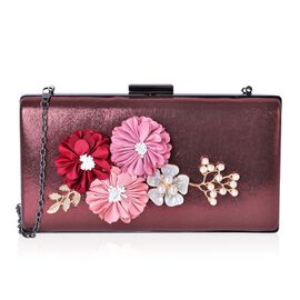 Simulated Pearl, White Austrian Crystals Multi Colour Flowers Embellished Bronze Colour Clutch with Chain Strap (Size 21.5X11.5X4 Cm) in Black Tone