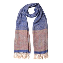 New Season-Dark Blue, Beige and Multi Colour Rose Flower and Paisley Pattern Scarf with Tassels (Size 190x70 Cm)