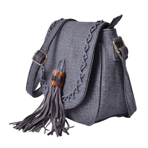 Black Colour Crossbody Bag with Bamboo Tassels and Adjustable Shoulder Strap (Size 25x20x9 Cm)
