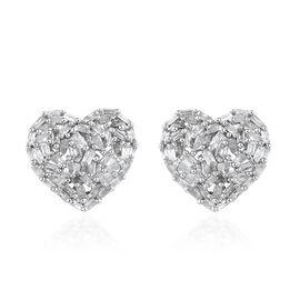 GP Diamond (Bgt), Kanchanaburi Blue Sapphire Heart Stud Earrings (with Push Back) in Platinum Overlay Sterling Silver 0.500 Ct,