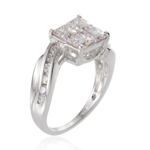 J Francis - Platinum Overlay Sterling Silver (Sqr) Ring Made with SWAROVSKI ZIRCONIA 1.920 Ct.