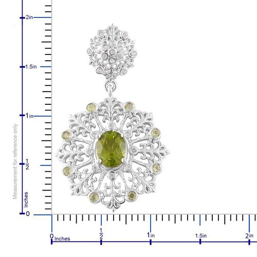 AA Hebei Peridot (Ovl), White Topaz Earrings (with Push Back) in Platinum Overlay Sterling Silver 5.400 Ct.