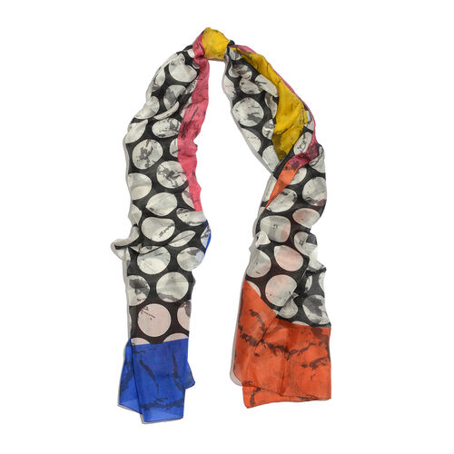 100% Mulberry Silk Orange, Black, White and Multi Colour Moon Pattern Scarf (Size 180x100 Cm)