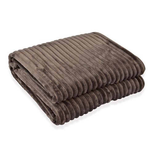 Superfine Silver Colour Microfiber Corduroy Plush Blanket 150x200 cm